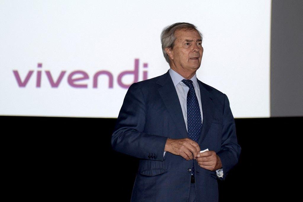 Le président du conseil de surveillance du groupe de médias Vivendi, Vincent Bolloré, lors d'une assemblée générale de Vivendi le 19 avril 2018 à Paris.
