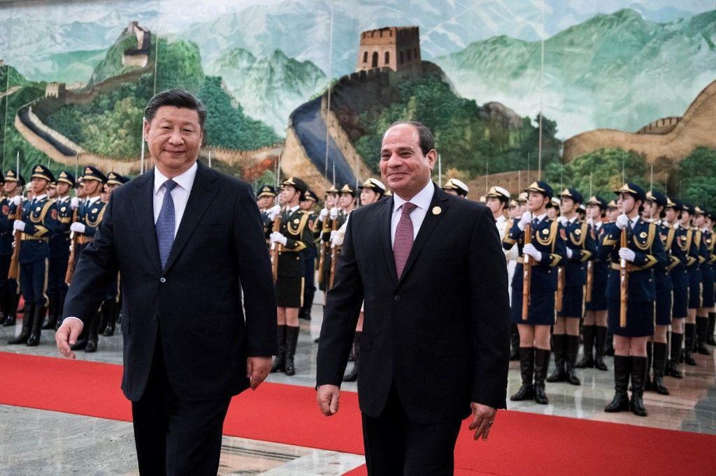 Le président chinois Xi Jinping et son homologue égyptien Abdel Fattah al-Sissi lors d'un sommet, le 1er septembre 2018.