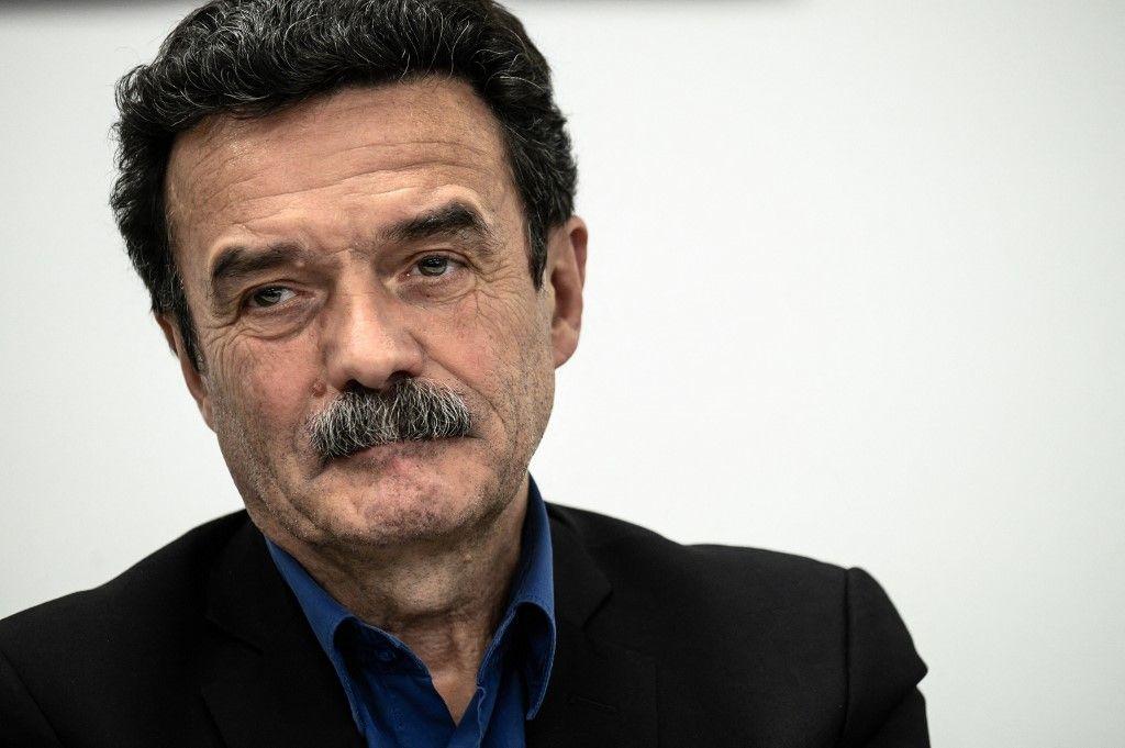 Le journaliste et co-fondateur de Mediapart, Edwy Plenel, lors d'une conférence de presse au sein du bureau du site d'investigation Mediapart à Paris, le 4 février 2019.