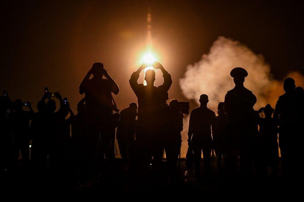 Un décollage de fusée Soyouz.