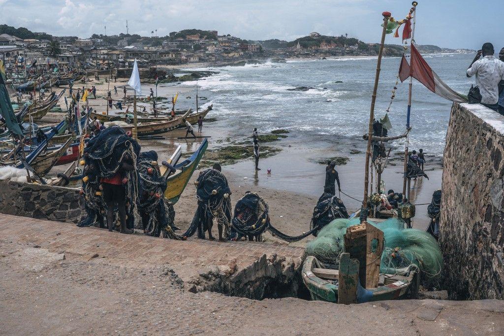 Cape Coast Castle, au Ghana, un des ports d'où partaient les bateaux d'esclaves pour les Etats-Unis.