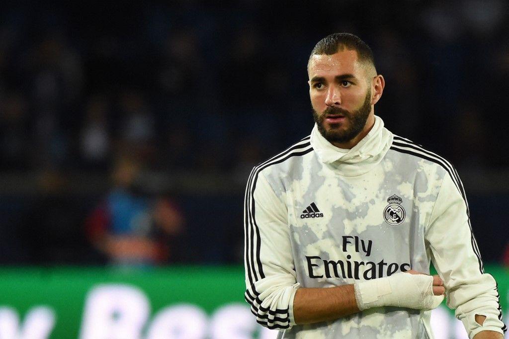 L'attaquant du Real Madrid, Karim Benzema, avant le match de la Ligue des Champions entre le Paris Saint-Germain et son club au Parc des Princes, le 18 septembre 2019.