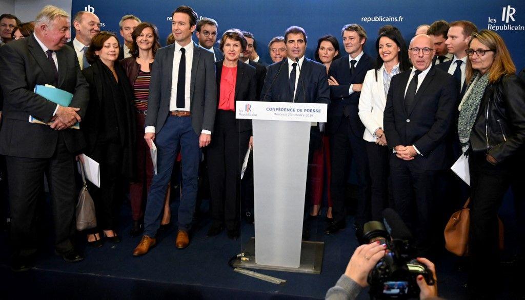 Le président du groupe des Républicains (LR), Christian Jacob, s'exprime lors de la présentation de l'équipe de direction des Républicains à Paris, le 23 octobre 2019.