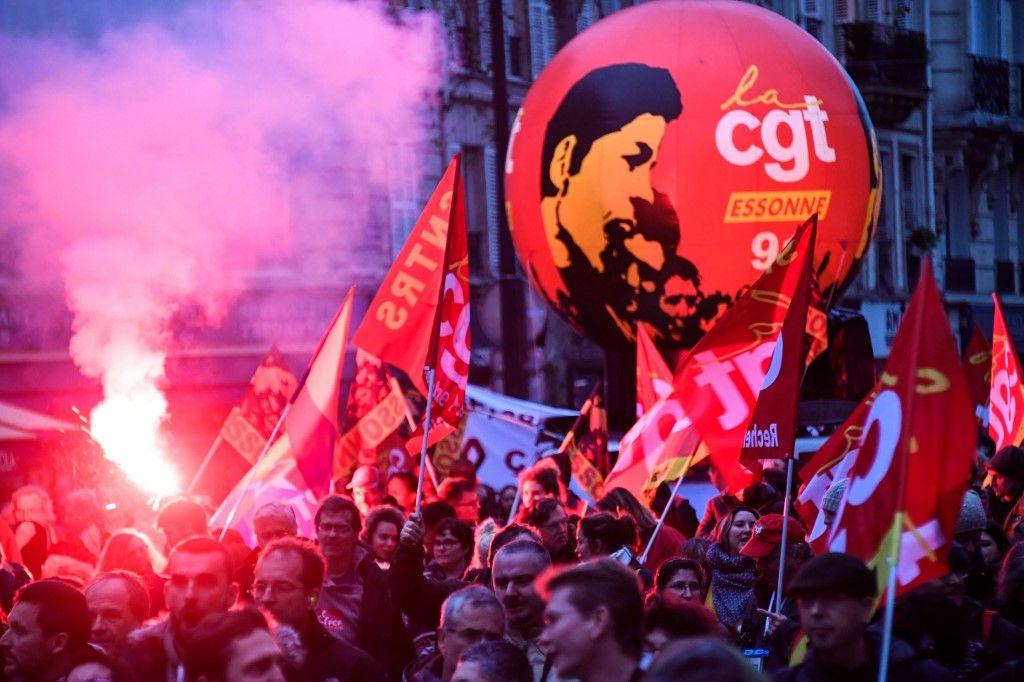 Mobilisation syndicale à l'occasion d'une manifestation contre la réforme des retraites