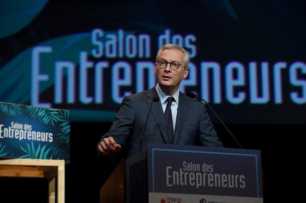 """Le ministre français de l'Economie et des Finances, Bruno Le Maire, prononce une allocution lors de la 27e édition du """"Salon des Entrepreneurs"""", à Paris, le 6 février 2020."""