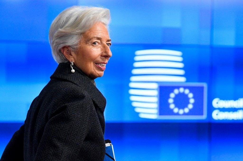 La présidente de la Banque centrale européenne, Christine Lagarde, arrive pour une réunion de l'Eurogroupe au siège de l'UE à Bruxelles, le 17 février 2020.