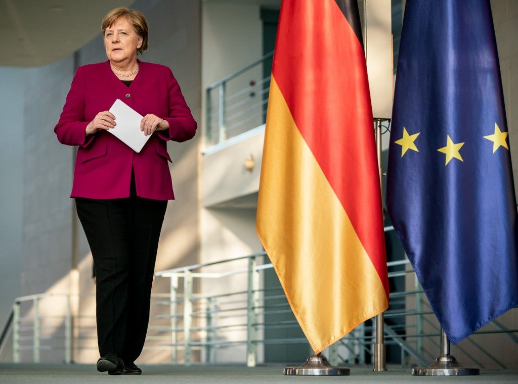 Angela Merkel avant une prise de parole à Berlin. Après seize ans de règne, la chancelière allemande va quitter le pouvoir.