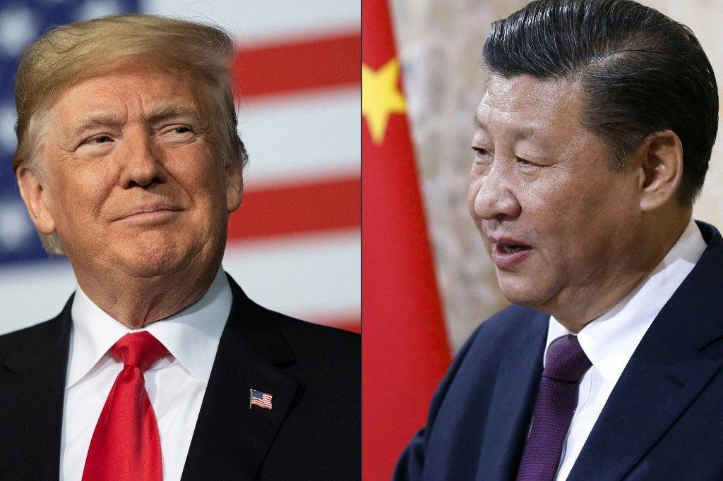 Cette combinaison d'images montre des portraits du président chinois Xi Jinping et du président américain Donald Trump.