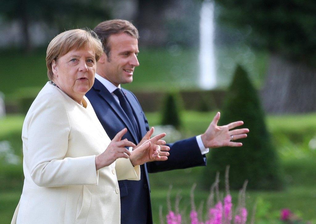 Angela Merkel rencontre le président français Emmanuel Macron le 29 juin 2020 à Meseberg, près de Berlin. La chancelière allemande va effectuer une ultime visite à Paris le 16 septembre prochain.