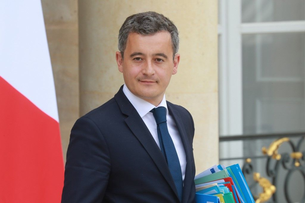 Le ministre de l'Intérieur, Gérald Darmanin, à l'issue du Conseil des ministres, à l'Elysée.
