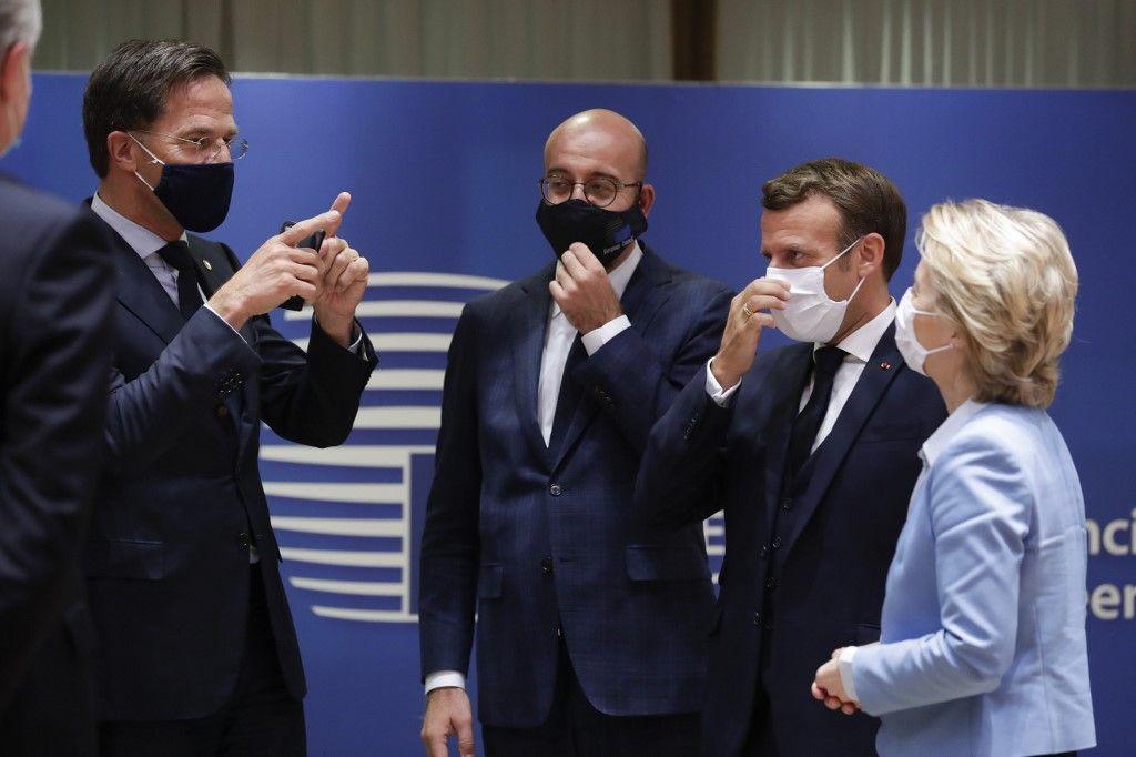 Emmanuel Macron Mark Rutte Charles Michel Ursula von der Leyen plan de relance européen