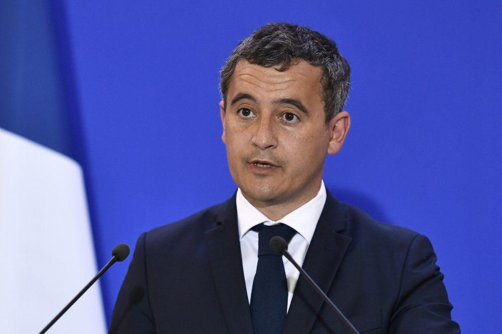 Le ministre de l'Intérieur, Gérald Darmanin, s'exprime lors d'une conférence de presse.