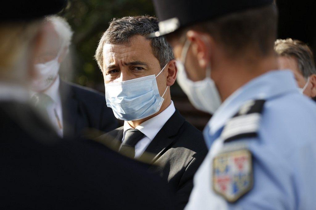Gérald Darmanin, le ministre de l'Intérieur, lors d'un déplacement sur le thème de la sécurité.