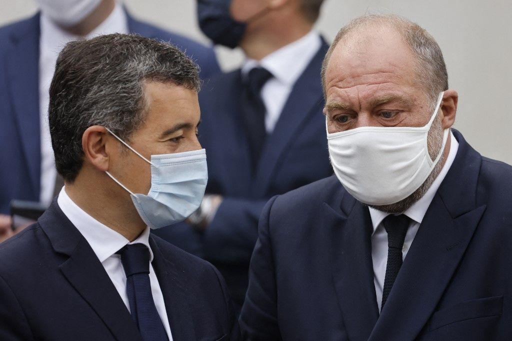 Le ministre de la Justice, Eric Dupond-Moretti, et le ministre de l'Intérieur, Gérald Darmanin lors d'un déplacement officiel.