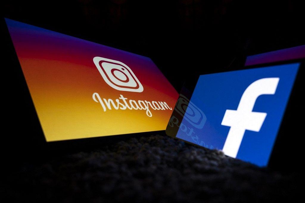Les logos des réseaux sociaux Facebook et Instagram.