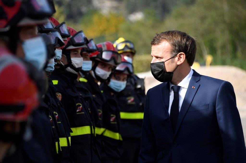 Emmanuel Macron Saint-Martin-Vésubie inondations intempéries pluie tempête Alex