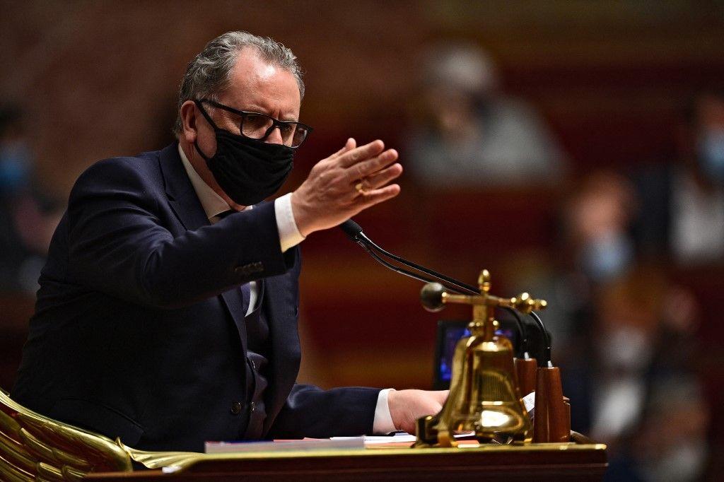 Le président de l'Assemblée nationale, Richard Ferrand, s'exprime lors d'une séance de questions au gouvernement, le 15 décembre 2020, à l'Assemblée nationale, à Paris.