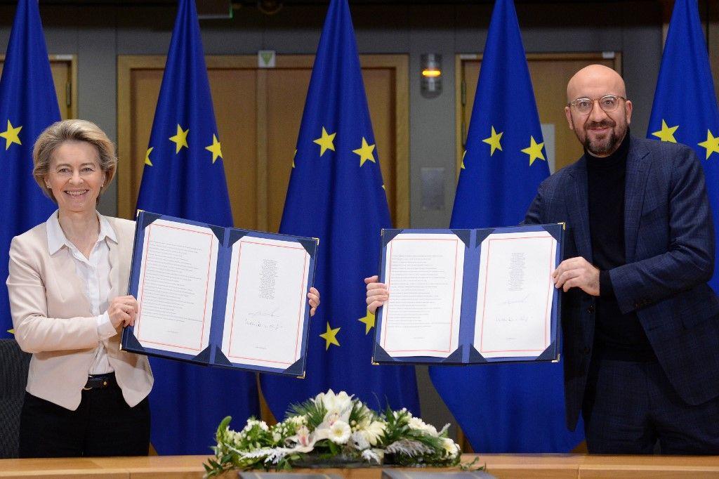 Ursula von der leyen Charles Michel accord commercial Brexit Union européenne Royaume-Uni Boris Johnson