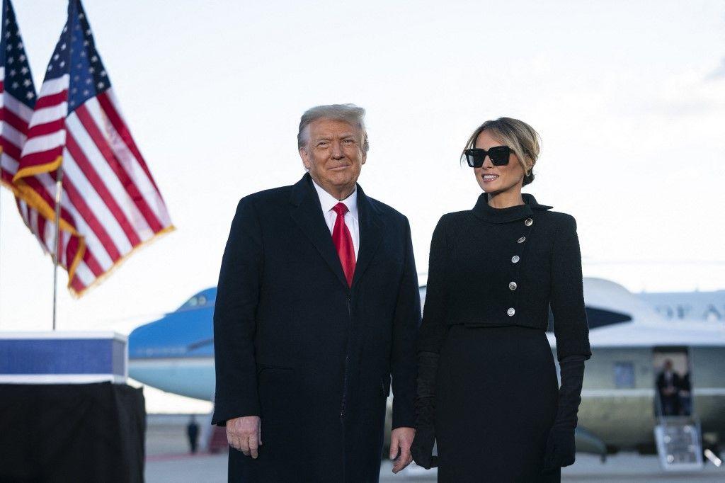 Le président américain, Donald Trump, et la Première Dame, Melania Trump, dans le Maryland le 20 janvier 2021.