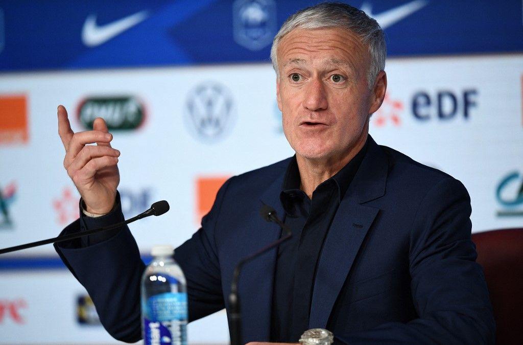 Le sélectionneur de l'équipe de France de football, Didier Deschamps, lors d' une conférence de presse à Paris, le 18 mars 2021.