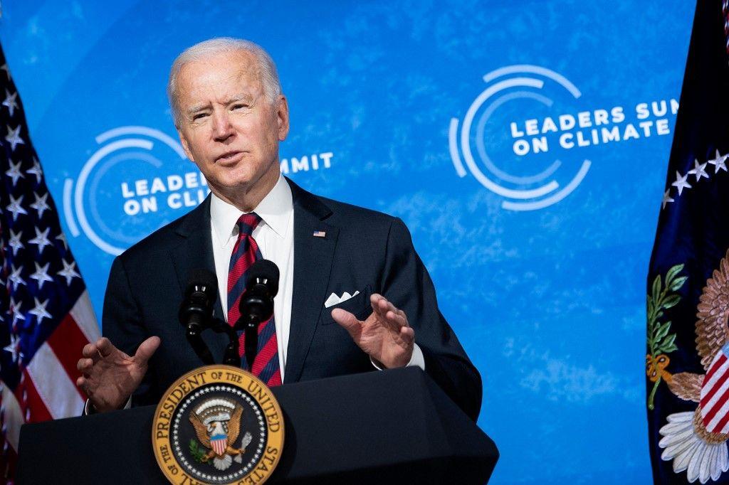 Le président américain Joe Biden lors du sommet virtuel sur le changement climatique le 22 avril 2021 à Washington.