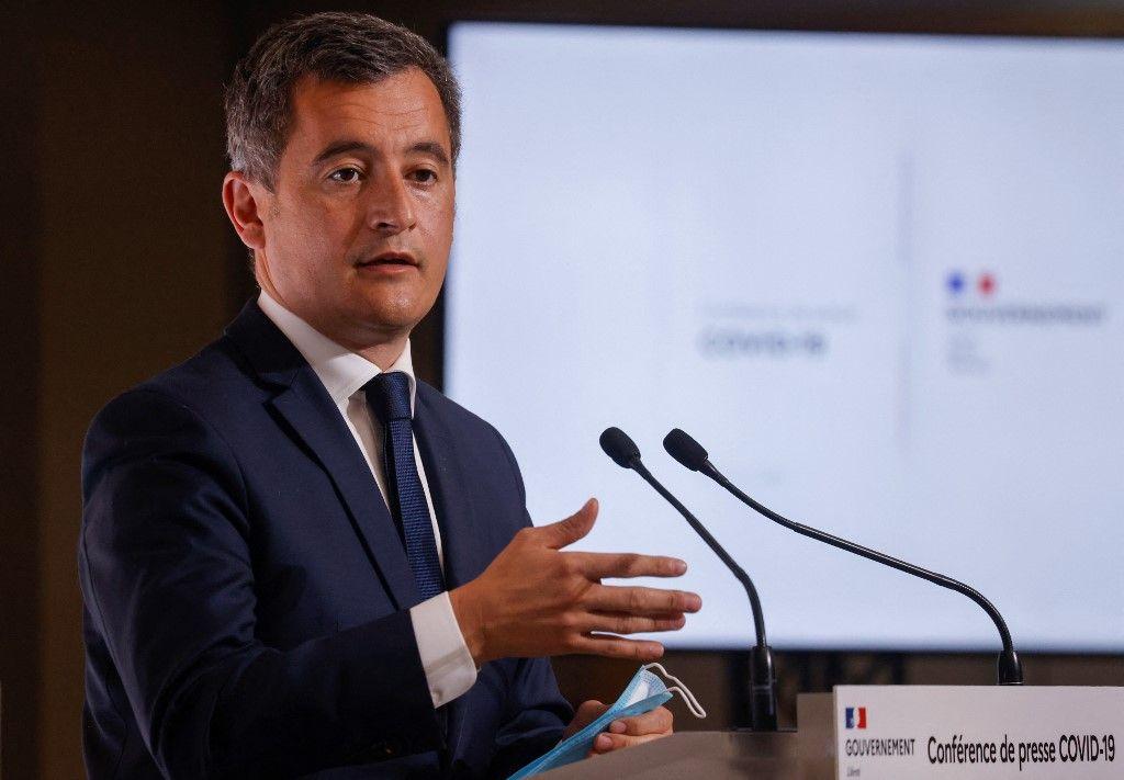 Le ministre de l'Intérieur, Gérald Darmanin, lors d'une conférence de presse en avril 2021.