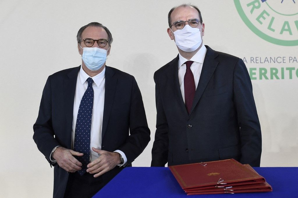 Renaud Muselier et Jean Castex lors d'une cérémonie officielle au début de l'année 2021.