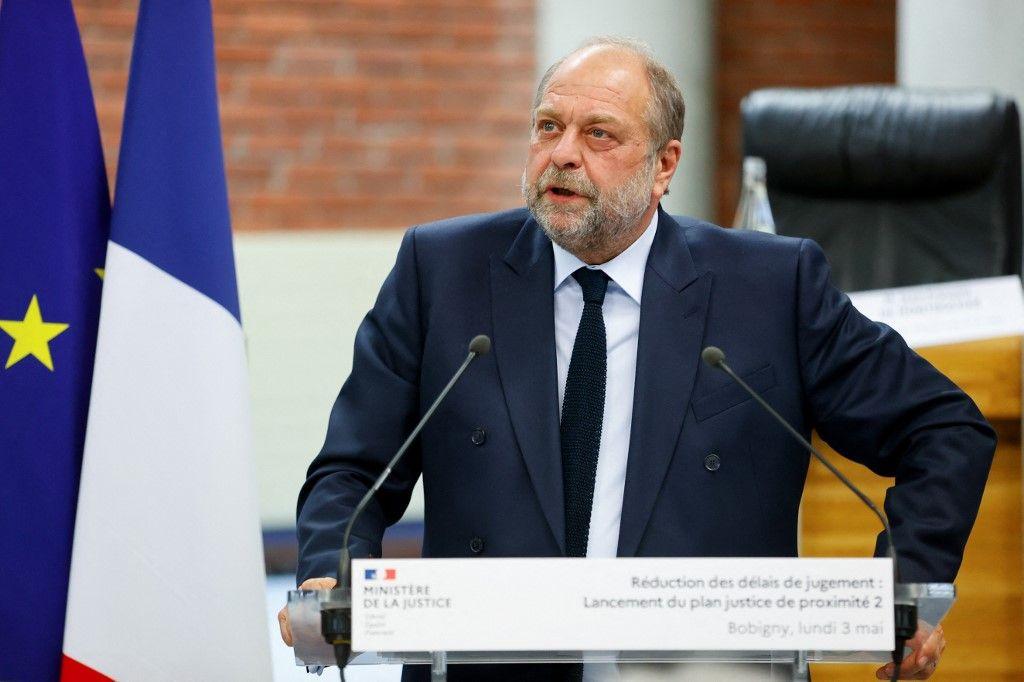 Eric Dupond-Moretti s'exprime lors de la cérémonie de remise du rapport commandé en février sur la réduction des délais judiciaires, le 3 mai 2021.