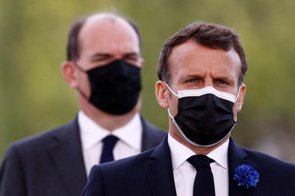 Le président Emmanuel Macron et le Premier ministre Jean Castex assistent à une cérémonie à Paris le 8 mai 2021.