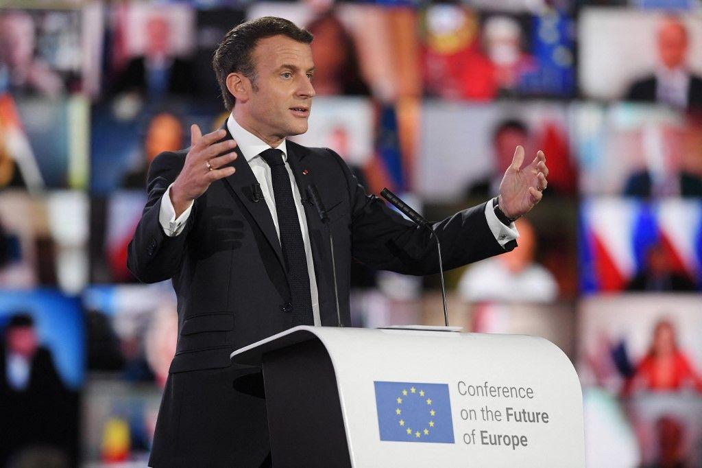 Le président Emmanuel Macron prononce un discours lors de la Journée de l'Europe 2021 et de la Conférence sur l'avenir de l'Europe, le 9 mai 2021.