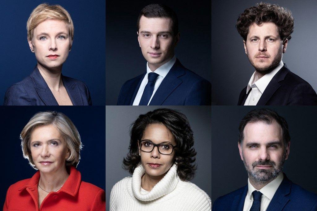 Une combinaison d'images des candidats aux élections régionales en Ile-de-France lors de séances photos à Paris (Julien Bayou, Clémentine Autain, Valérie Pécresse, Audrey Pulvar, Jordan Bordella)