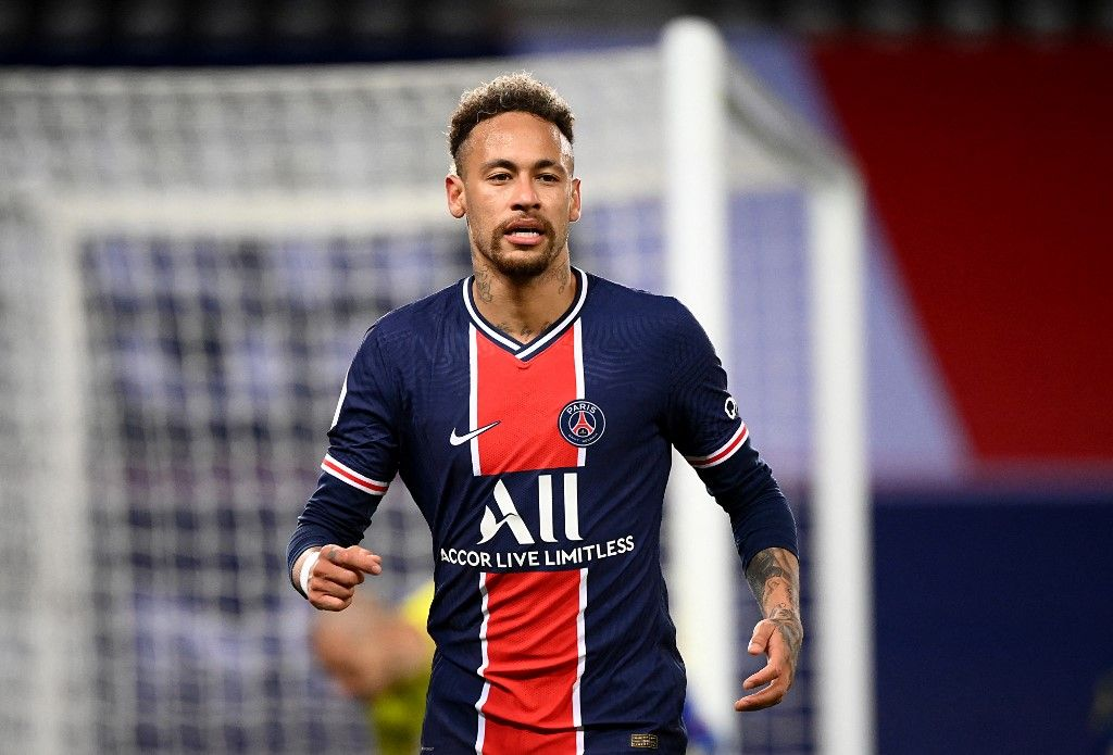 L'attaquant brésilien du Paris Saint-Germain, Neymar, lors du match de football de Ligue 1 entre le PSG et le Stade de Reims au stade du Parc des Princes le 16 mai 2021.