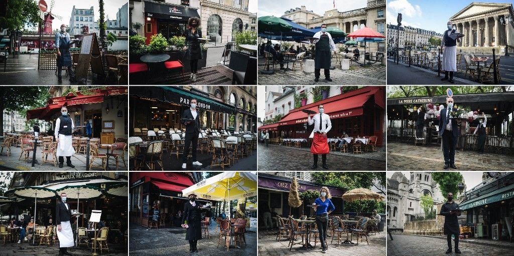 Des serveurs attendant leurs clients, à Paris en 2021.