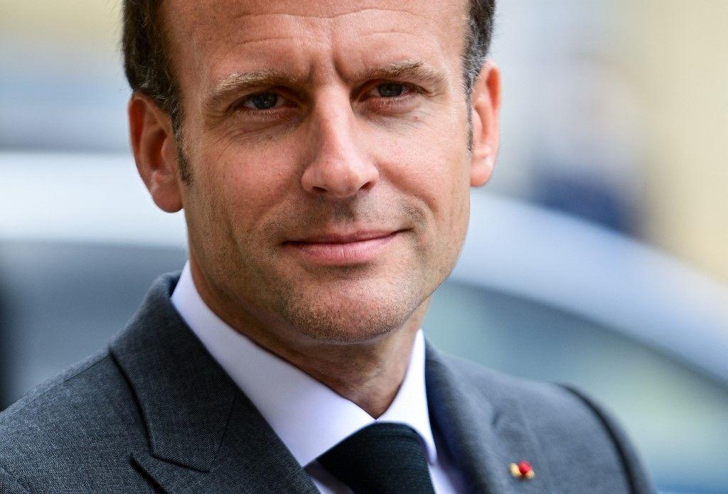 Le président Emmanuel Macron à l'Elysée, le 21 mai 2021, après une réunion pour préparer le prochain sommet de l'OTAN.