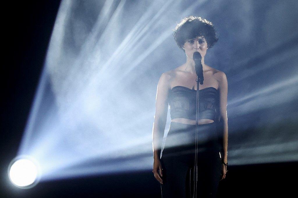 La chanteuse Barbara Pravi lors du concours de l'Eurovision 2021.
