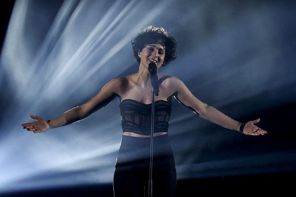 La chanteuse française Barbara Pravi lors de la finale du Concours Eurovision de la Chanson 2021, à Rotterdam, le 22 mai 2021.
