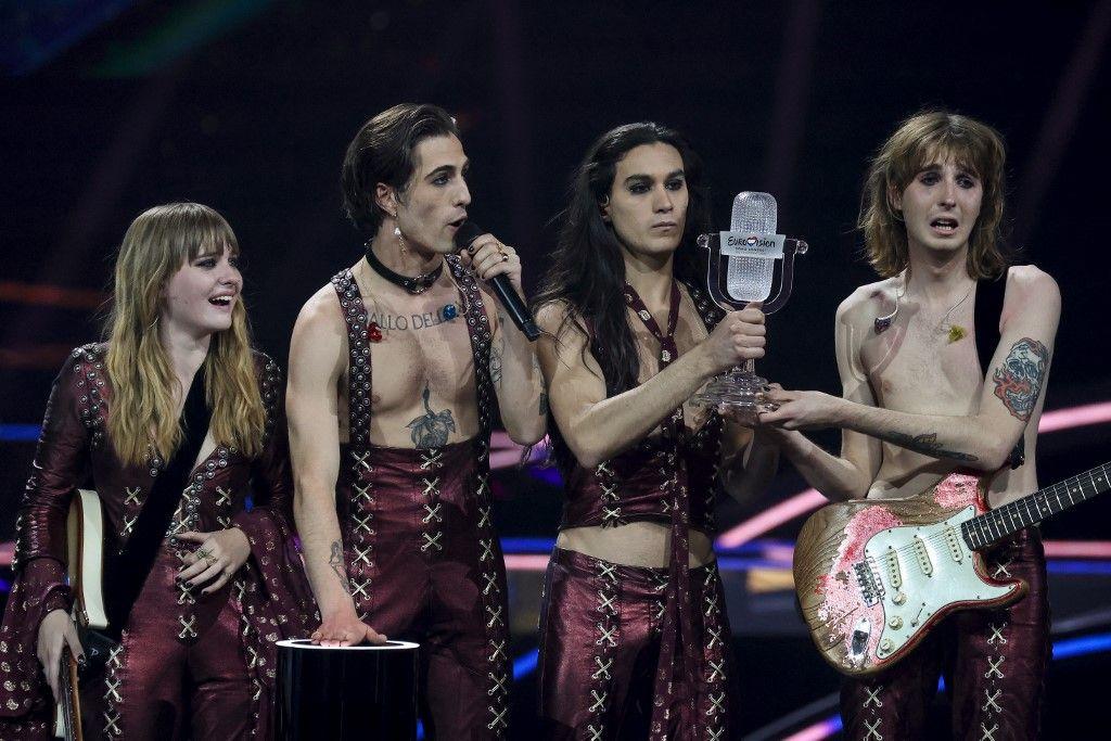 Les membres du groupe Maneskin après leur victoire lors de l'édition 2021 du concours de l'Eurovision.