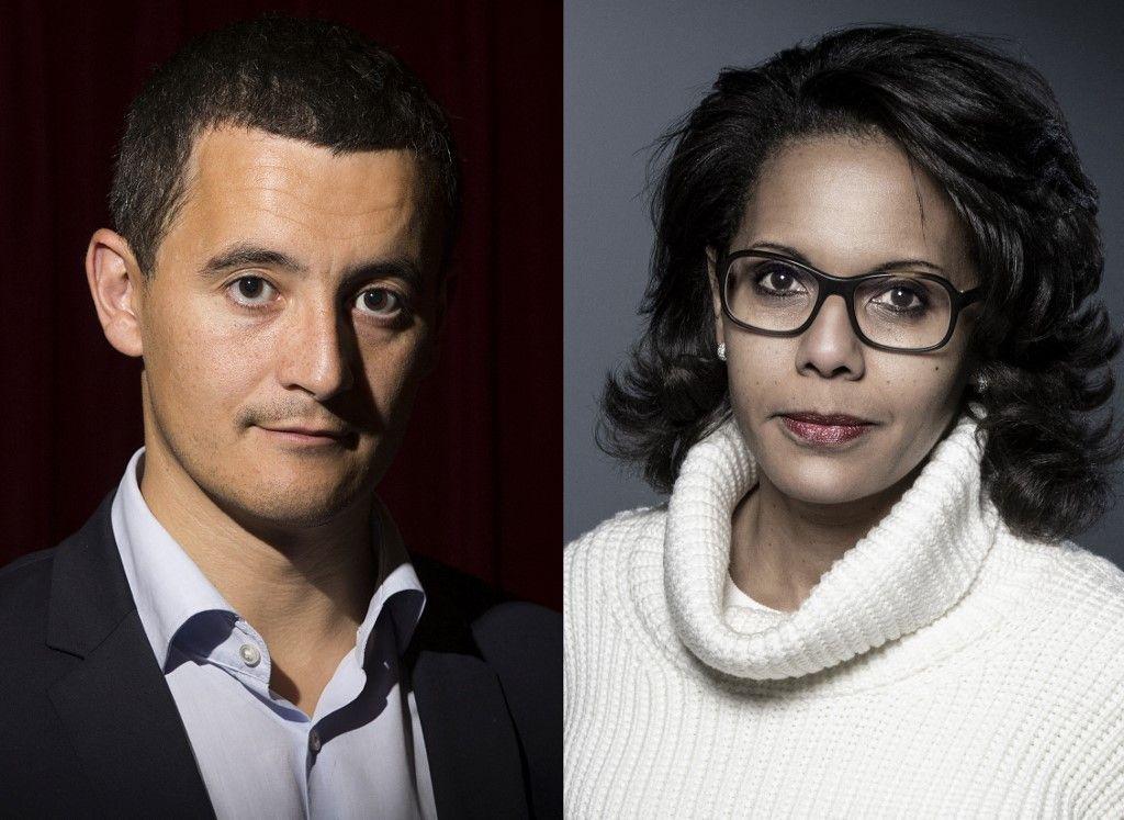 Le ministre de l'Intérieur, Gérald Darmanin, et Audrey Pulvar, candidate pour les élections régionales en Ile-de-France.
