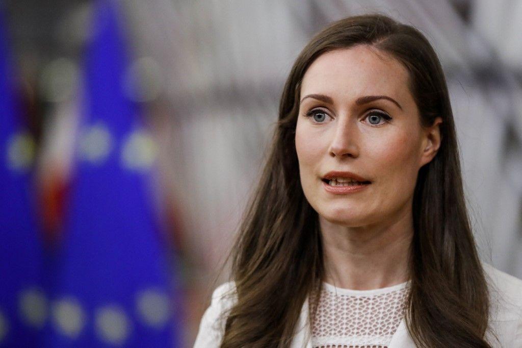La Première ministre finlandaise Sanna Marin lors d'un sommet de l'Union européenne à Bruxelles le 24 mai 2021.