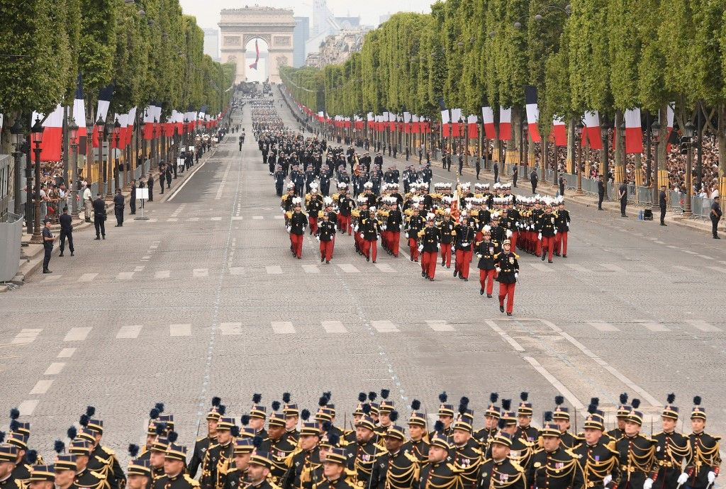 Des soldats français lors du défilé militaire du 14 juillet sur l'avenue des Champs-Elysées à Paris en 2019.