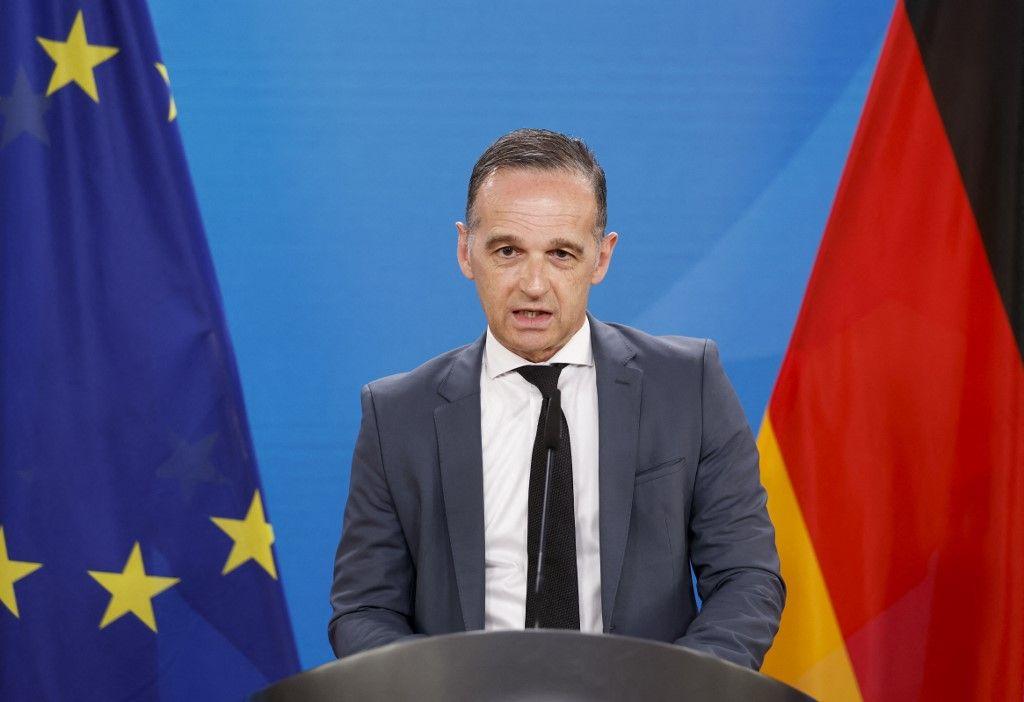 Le ministre allemand des Affaires étrangères, Heiko Maas, s'exprime lors d'une conférence de presse après un forum de coopération entre l'UE et les États des Balkans occidentaux, à Berlin le 8 juin 2021.