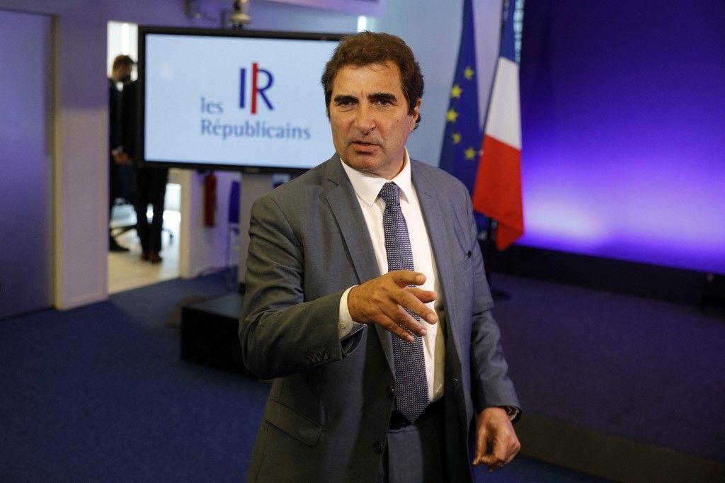 Christian Jacob, président du groupe du parti Les Républicains, au siège du parti à Paris, le 9 juin 2021 lors d'un comité stratégique avant les élections présidentielles de 2022.