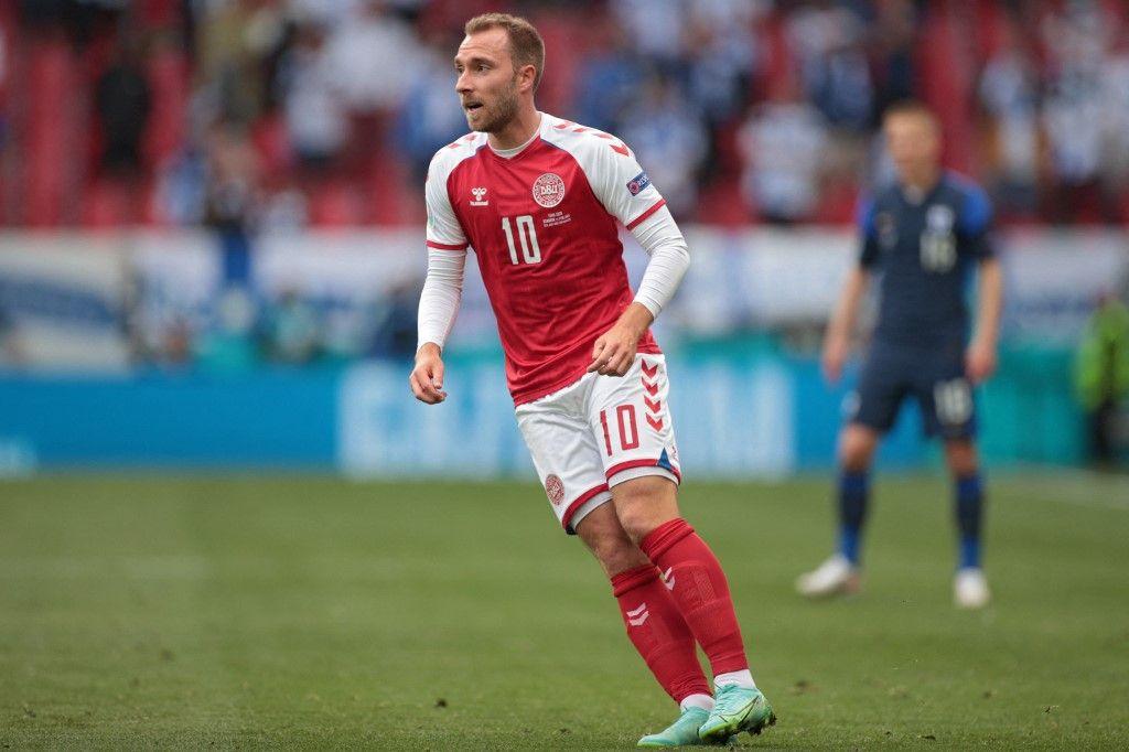 Le milieu de terrain danois Christian Eriksen lors du match de football du groupe B de l'UEFA EURO 2020 entre le Danemark et la Finlande au stade Parken de Copenhague le 12 juin 2021.