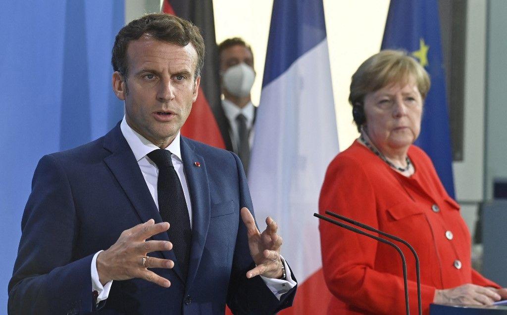 Le président Emmanuel Macron lors d'une conférence de presse conjointe avec la chancelière Angela Merkel, le 18 juin 2021.