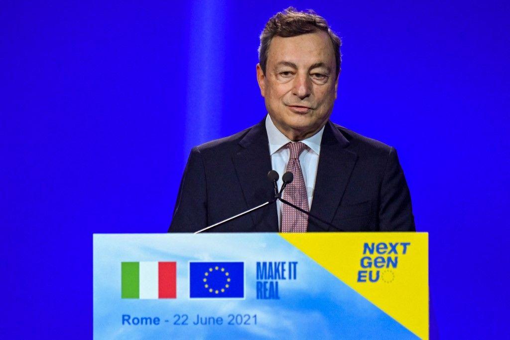 Le Premier ministre italien, Mario Draghi, s'exprime lors d'une conférence de presse le 22 juin 2021 à Rome.
