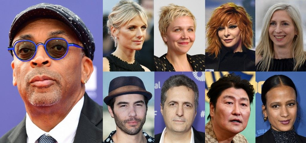 Une combinaison d'images d'archives montre le Jury du 74e Festival de Cannes, comprenant Spike Lee, Mélanie Laurent, Maggie Gyllenhaal, Mylène Farmer, Jessica Hausner, Tahar Rahim, Kleber Mendonca Filho, Song Kang-ho et Mati Diop.