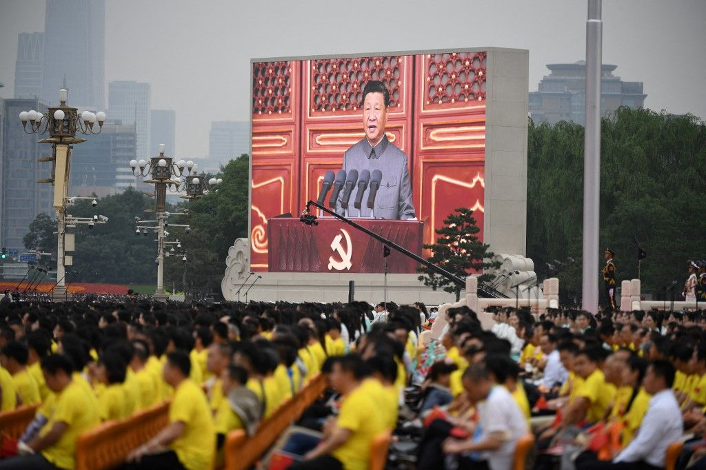 Xi Jinping lors des célébrations du centième anniversaire du Parti communiste chinois.