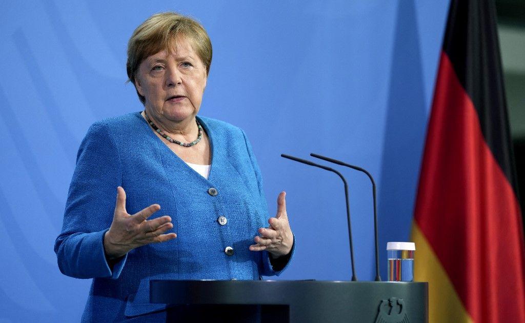 La chancelière allemande Angela Merkel s'exprime lors d'une conférence de presse le 5 juillet 2021.