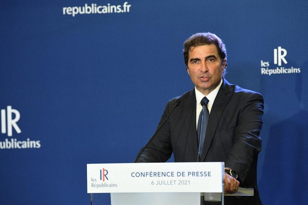 Christian Jacob, président des Républicains, prononce un discours lors d'une réunion au siège du parti, à Paris, le 6 juillet 2021.