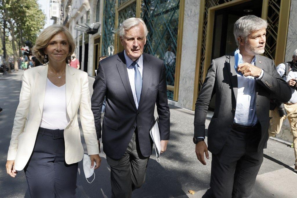 Valérie Pécresse, Michel Barnier et Laurent Wauquiez le 20 juillet 2021.